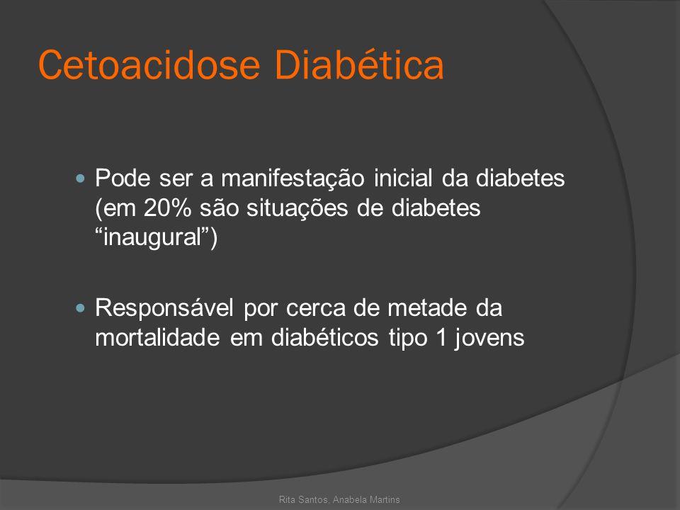 Cetoacidose Diabética Pode ser a manifestação inicial da diabetes (em 20% são situações de diabetes inaugural) Responsável por cerca de metade da mort