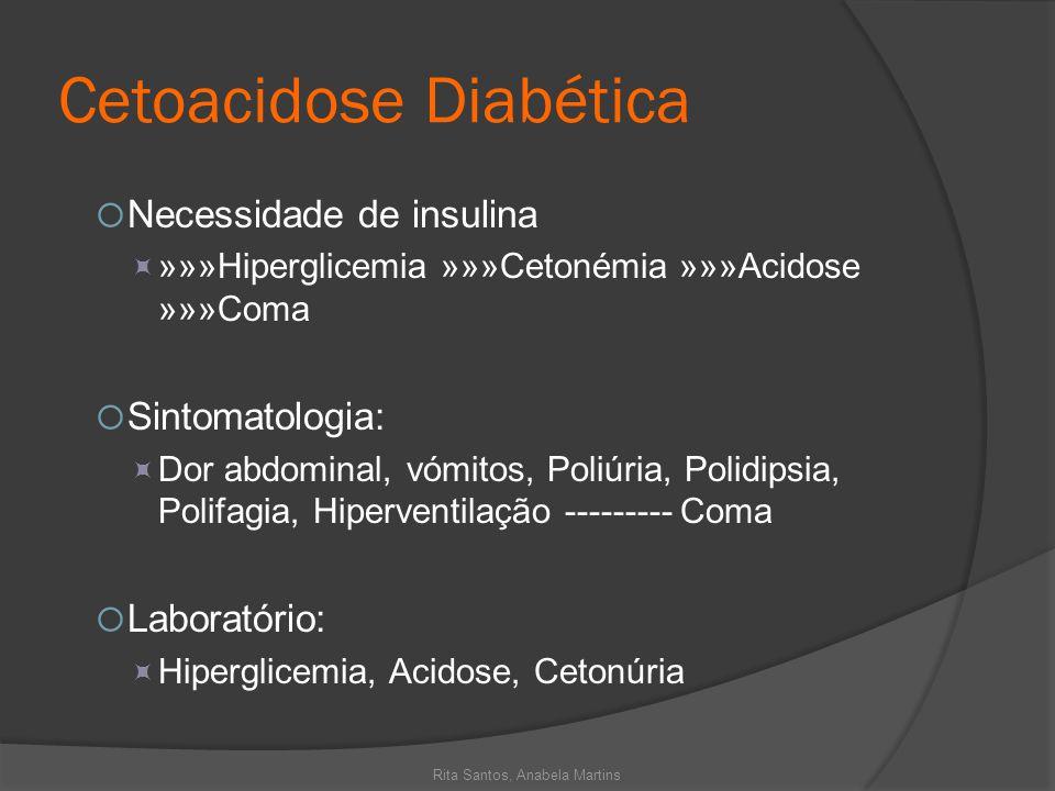 Cetoacidose Diabética Necessidade de insulina »»»Hiperglicemia »»»Cetonémia »»»Acidose »»»Coma Sintomatologia: Dor abdominal, vómitos, Poliúria, Polid