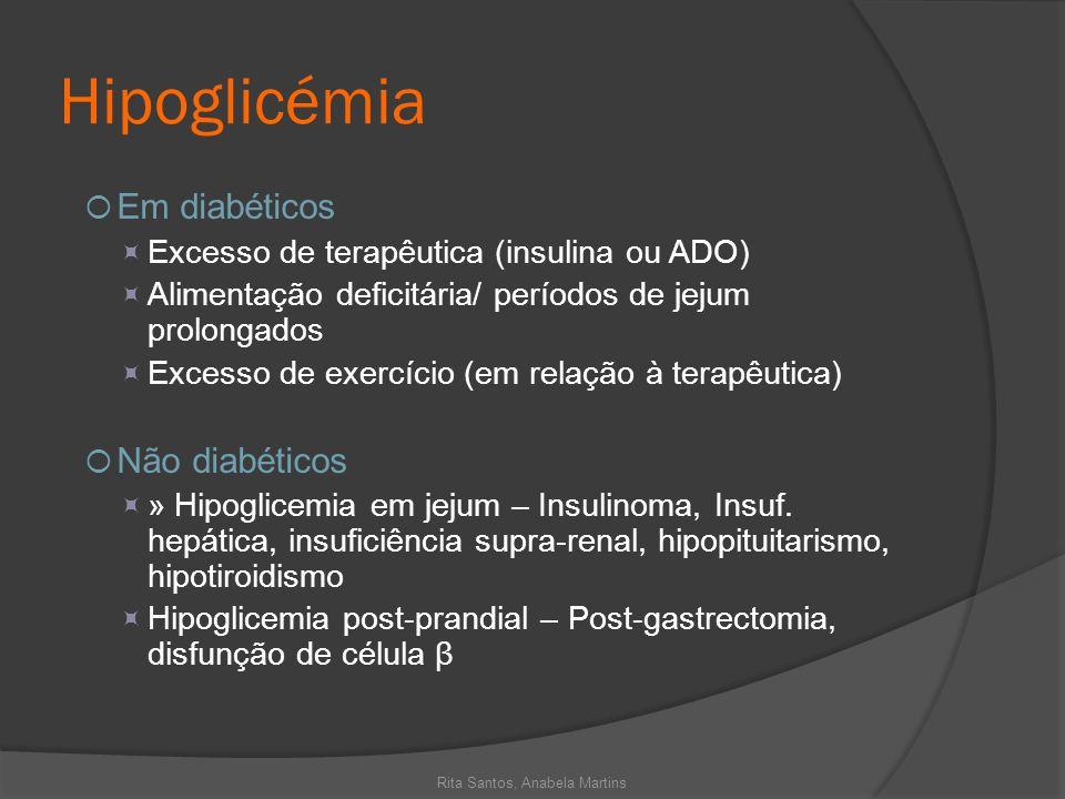 Hipoglicémia Em diabéticos Excesso de terapêutica (insulina ou ADO) Alimentação deficitária/ períodos de jejum prolongados Excesso de exercício (em re