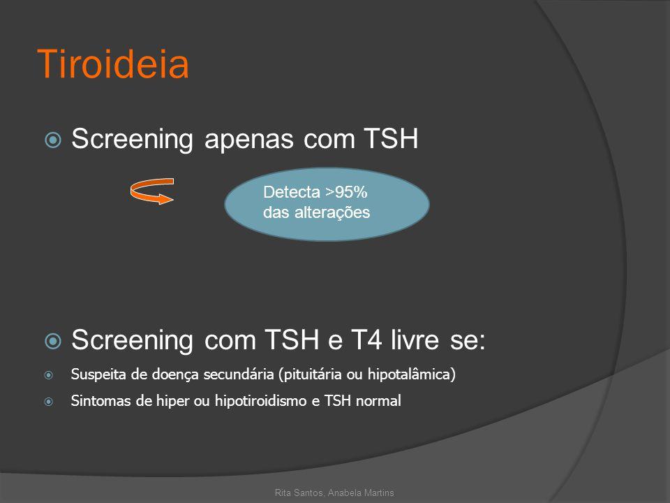 Tiroideia Screening apenas com TSH Screening com TSH e T4 livre se: Suspeita de doença secundária (pituitária ou hipotalâmica) Sintomas de hiper ou hi