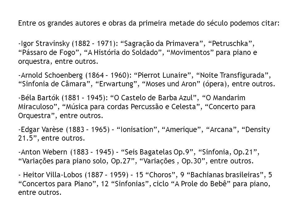 Entre os grandes autores e obras da segunda metade do século podemos citar: -John Cage (1912 – 1992): Sonatas e Interlúdios (1948), Music of Changes (1951), Aria (1958), entre outros.