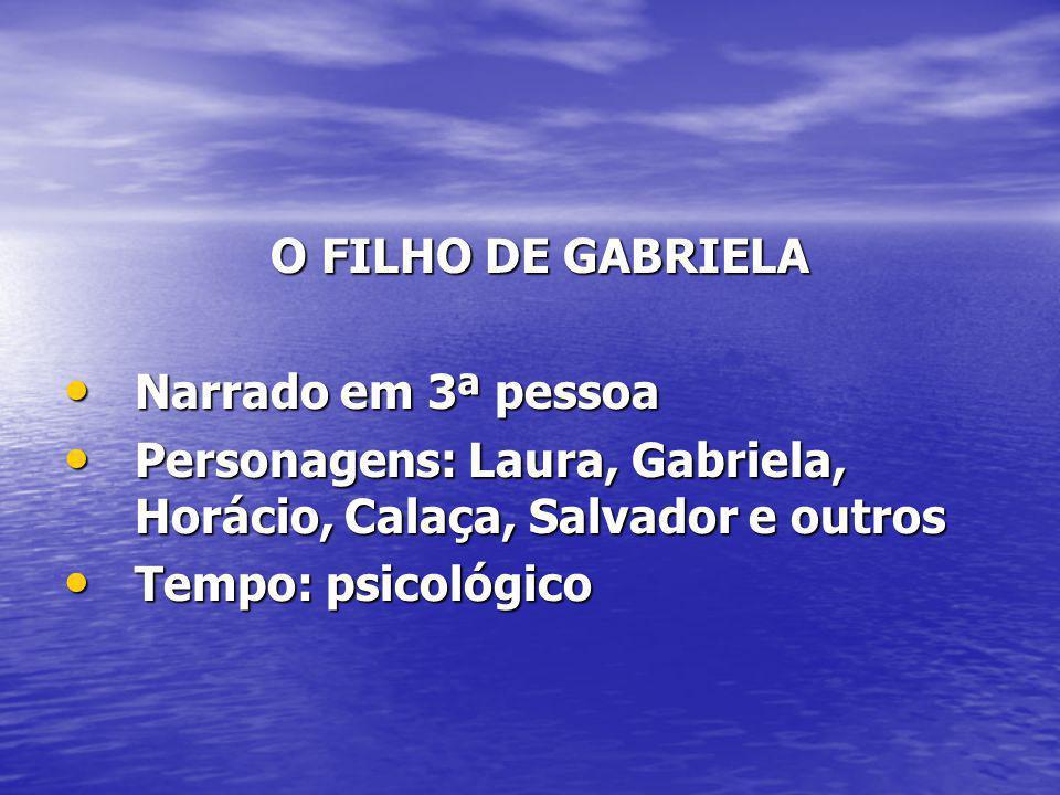 O FILHO DE GABRIELA O FILHO DE GABRIELA Narrado em 3ª pessoa Narrado em 3ª pessoa Personagens: Laura, Gabriela, Horácio, Calaça, Salvador e outros Per