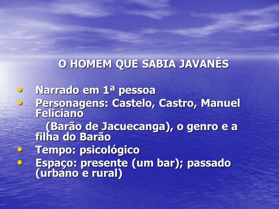 O HOMEM QUE SABIA JAVANÊS O HOMEM QUE SABIA JAVANÊS Narrado em 1ª pessoa Narrado em 1ª pessoa Personagens: Castelo, Castro, Manuel Feliciano Personage