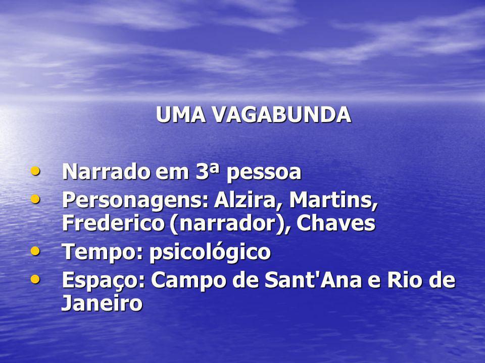 UMA VAGABUNDA UMA VAGABUNDA Narrado em 3ª pessoa Narrado em 3ª pessoa Personagens: Alzira, Martins, Frederico (narrador), Chaves Personagens: Alzira,