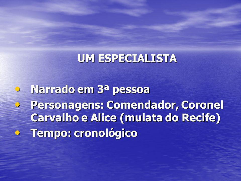UM ESPECIALISTA UM ESPECIALISTA Narrado em 3ª pessoa Narrado em 3ª pessoa Personagens: Comendador, Coronel Carvalho e Alice (mulata do Recife) Persona