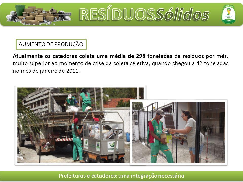 Atualmente os catadores coleta uma média de 298 toneladas de resíduos por mês, muito superior ao momento de crise da coleta seletiva, quando chegou a 42 toneladas no mês de janeiro de 2011.