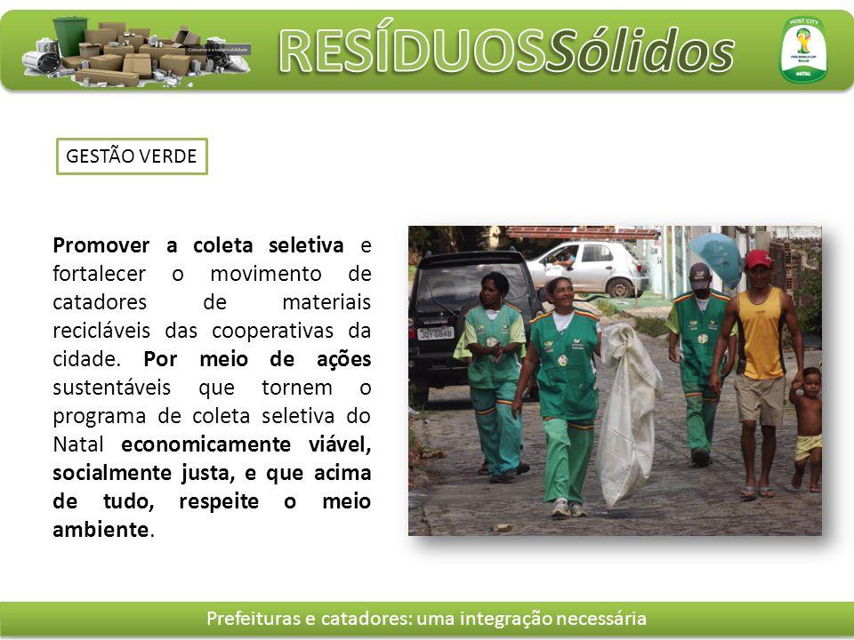 GESTÃO VERDE Promover a coleta seletiva e fortalecer o movimento de catadores de materiais recicláveis das cooperativas da cidade.