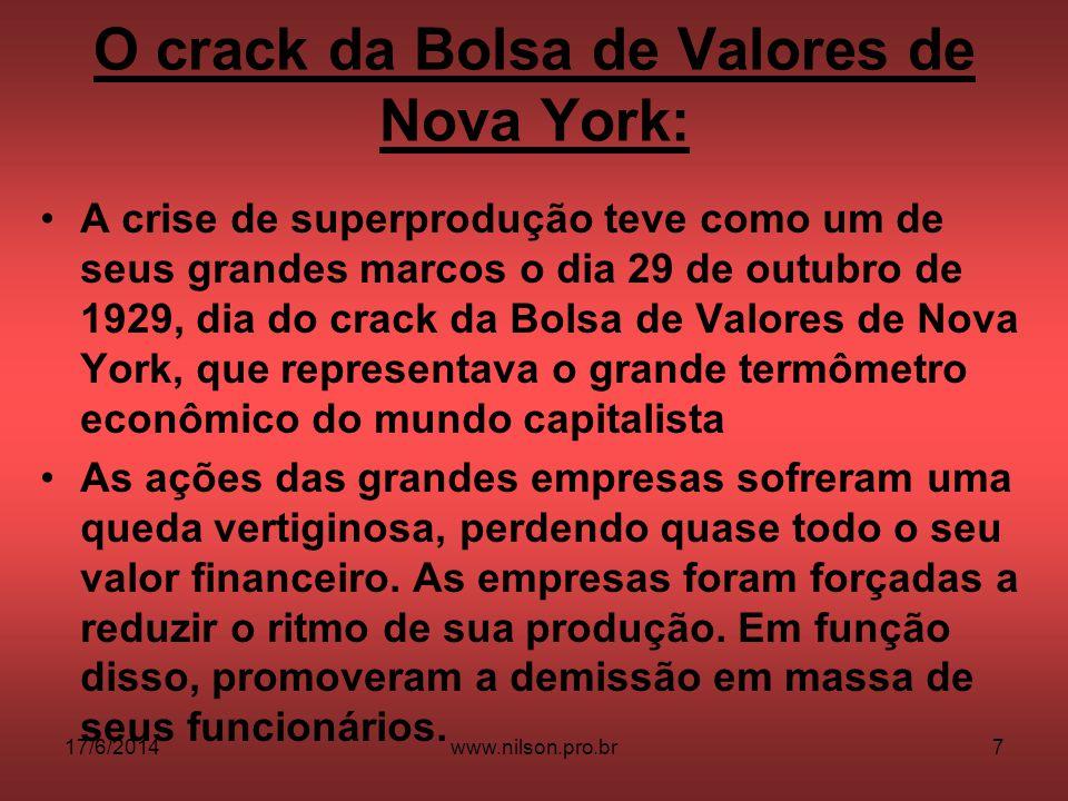 O crack da Bolsa de Valores de Nova York: A crise de superprodução teve como um de seus grandes marcos o dia 29 de outubro de 1929, dia do crack da Bo