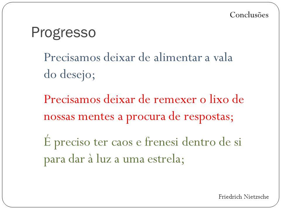Progresso Precisamos deixar de alimentar a vala do desejo; Conclusões Precisamos deixar de remexer o lixo de nossas mentes a procura de respostas; É p