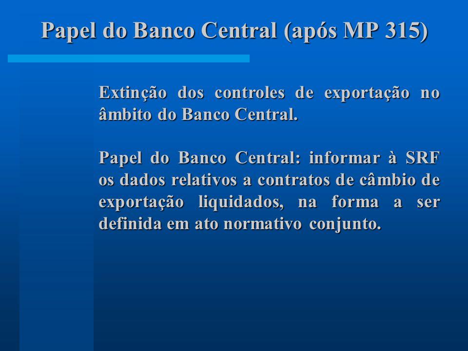 Extinção dos controles de exportação no âmbito do Banco Central.