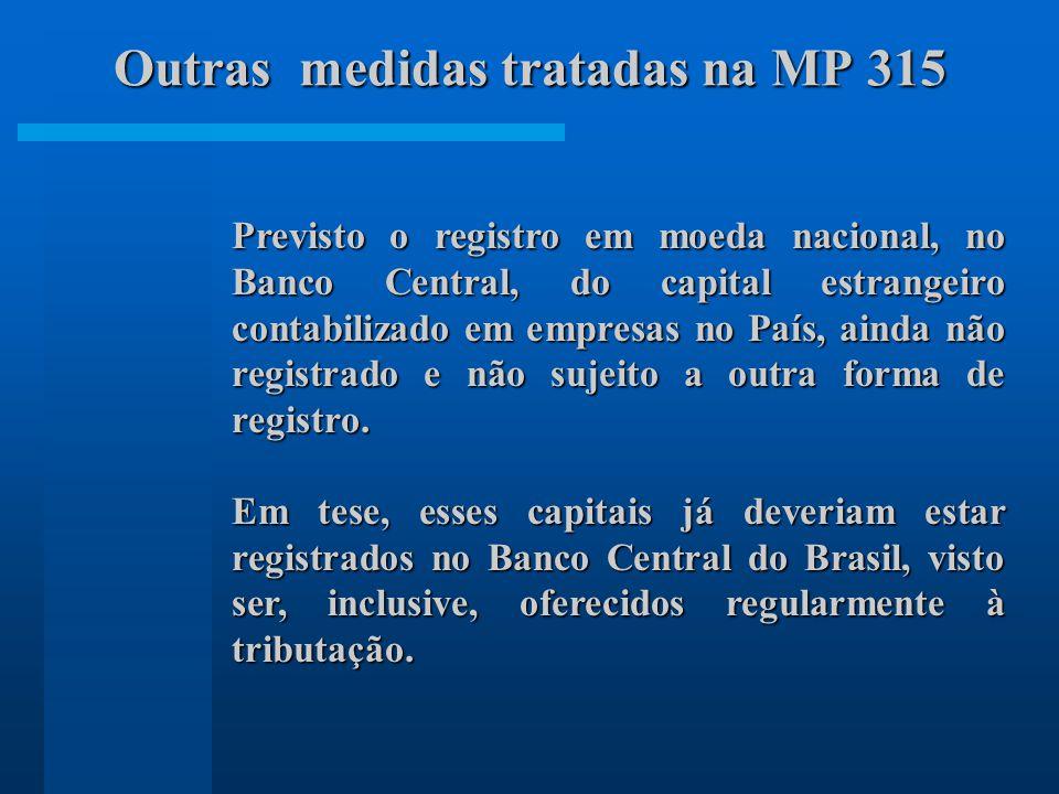 Previsto o registro em moeda nacional, no Banco Central, do capital estrangeiro contabilizado em empresas no País, ainda não registrado e não sujeito