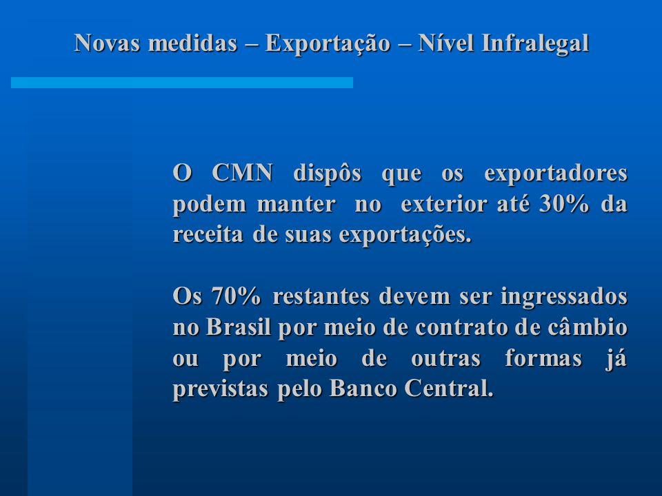 O CMN dispôs que os exportadores podem manter no exterior até 30% da receita de suas exportações. Os 70% restantes devem ser ingressados no Brasil por