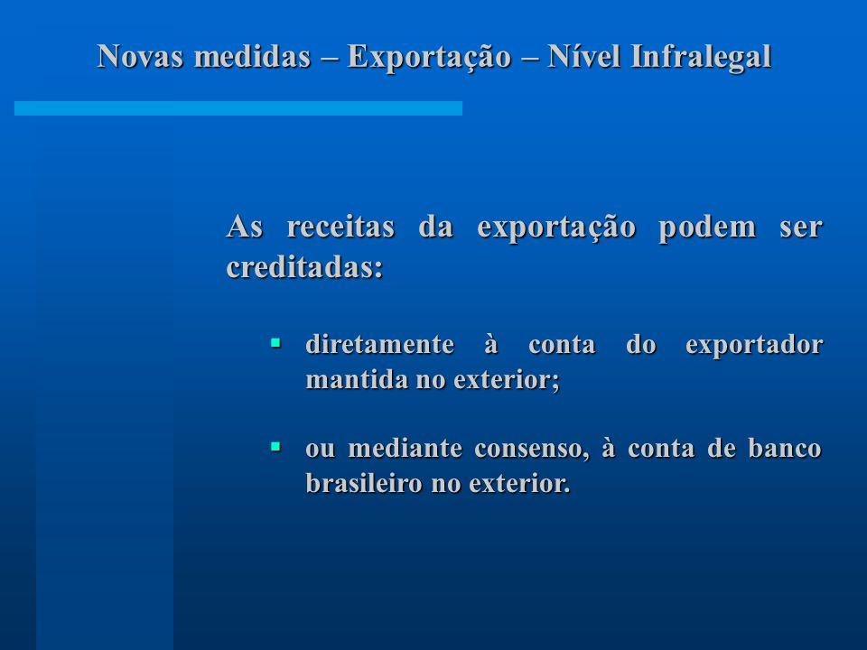 As receitas da exportação podem ser creditadas: diretamente à conta do exportador mantida no exterior; diretamente à conta do exportador mantida no exterior; ou mediante consenso, à conta de banco brasileiro no exterior.