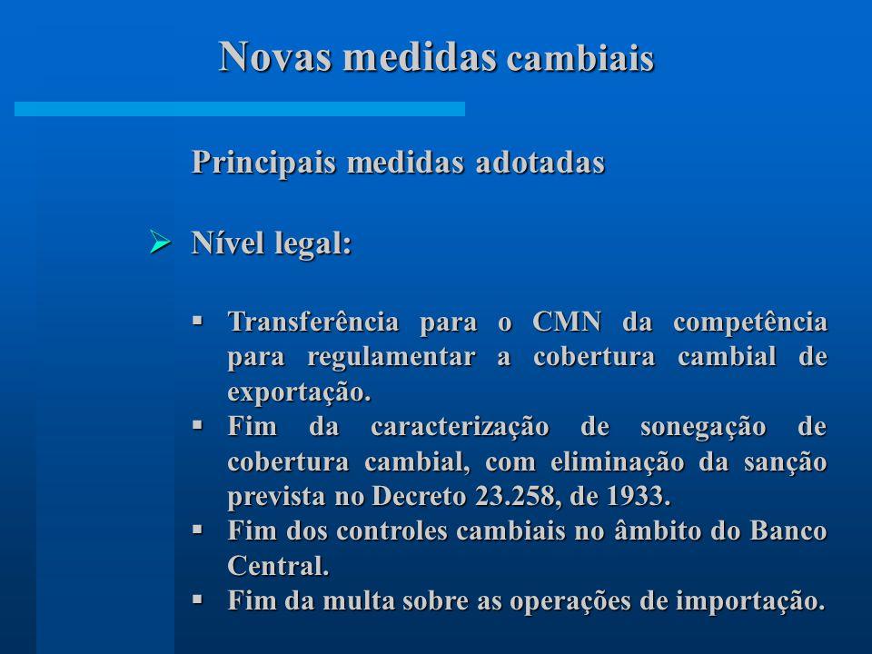 Principais medidas adotadas Nível legal: Nível legal: Transferência para o CMN da competência para regulamentar a cobertura cambial de exportação. Tra