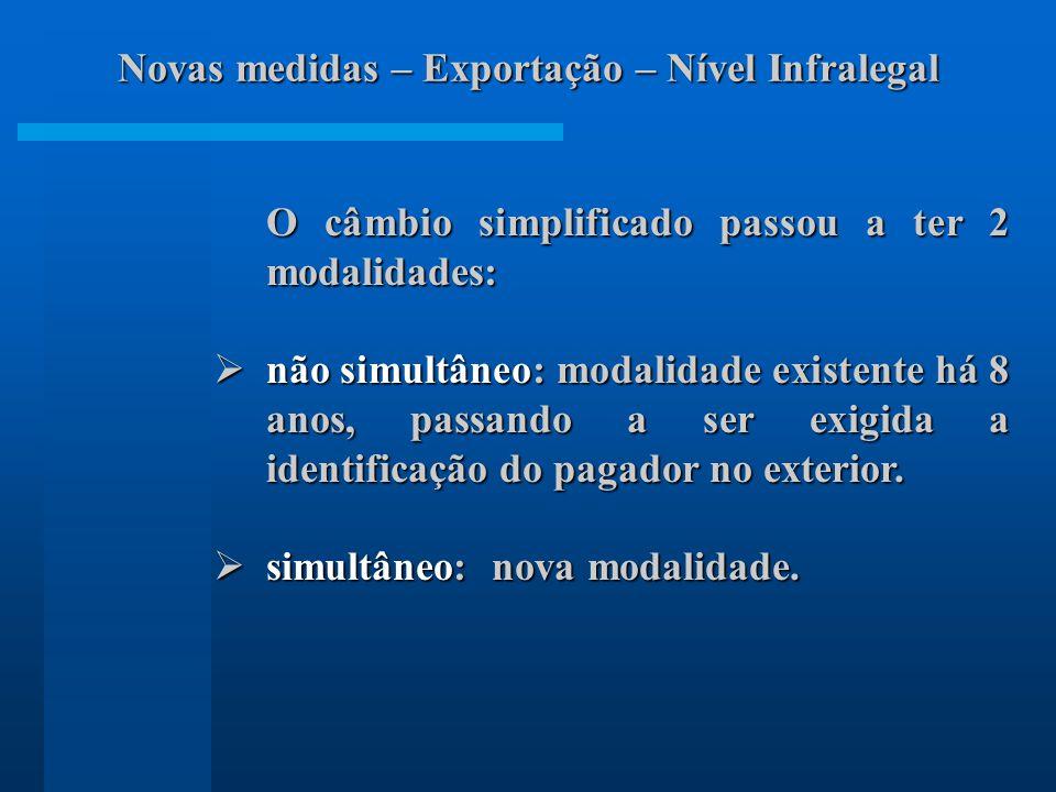 O câmbio simplificado passou a ter 2 modalidades: não simultâneo: modalidade existente há 8 anos, passando a ser exigida a identificação do pagador no exterior.