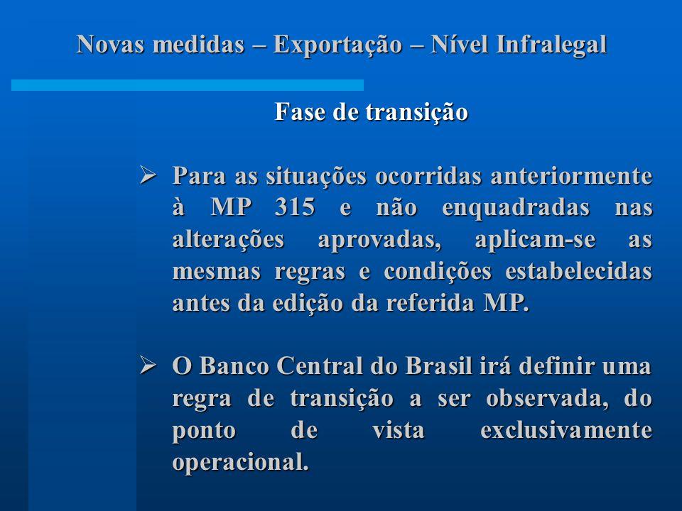 Fase de transição Para as situações ocorridas anteriormente à MP 315 e não enquadradas nas alterações aprovadas, aplicam-se as mesmas regras e condições estabelecidas antes da edição da referida MP.