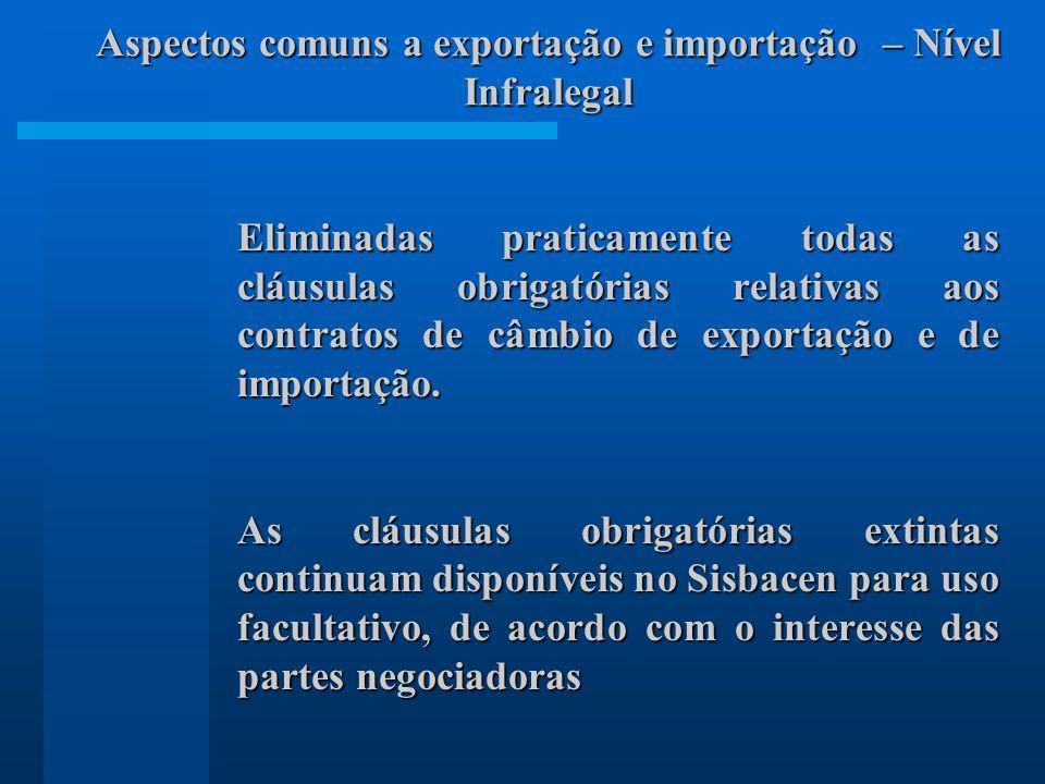 Eliminadas praticamente todas as cláusulas obrigatórias relativas aos contratos de câmbio de exportação e de importação. As cláusulas obrigatórias ext