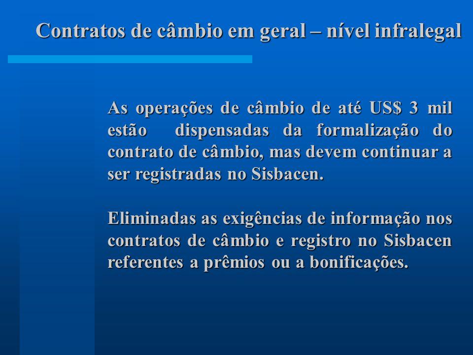 As operações de câmbio de até US$ 3 mil estão dispensadas da formalização do contrato de câmbio, mas devem continuar a ser registradas no Sisbacen.