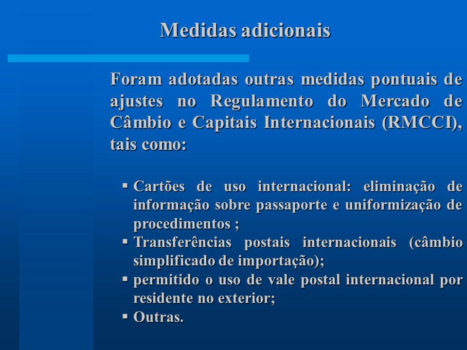 Foram adotadas outras medidas pontuais de ajustes no Regulamento do Mercado de Câmbio e Capitais Internacionais (RMCCI), tais como: Cartões de uso int