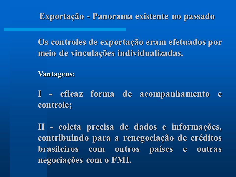 Os controles de exportação eram efetuados por meio de vinculações individualizadas. Vantagens: I - eficaz forma de acompanhamento e controle; II - col