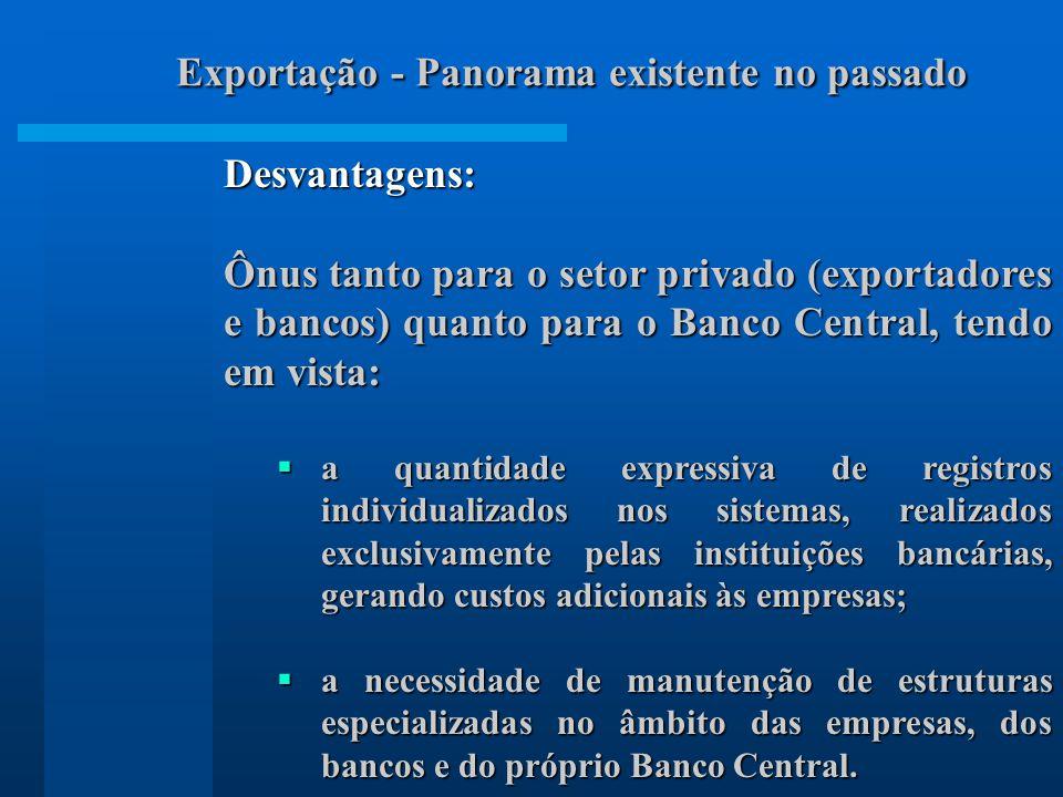 Desvantagens: Ônus tanto para o setor privado (exportadores e bancos) quanto para o Banco Central, tendo em vista: a quantidade expressiva de registro