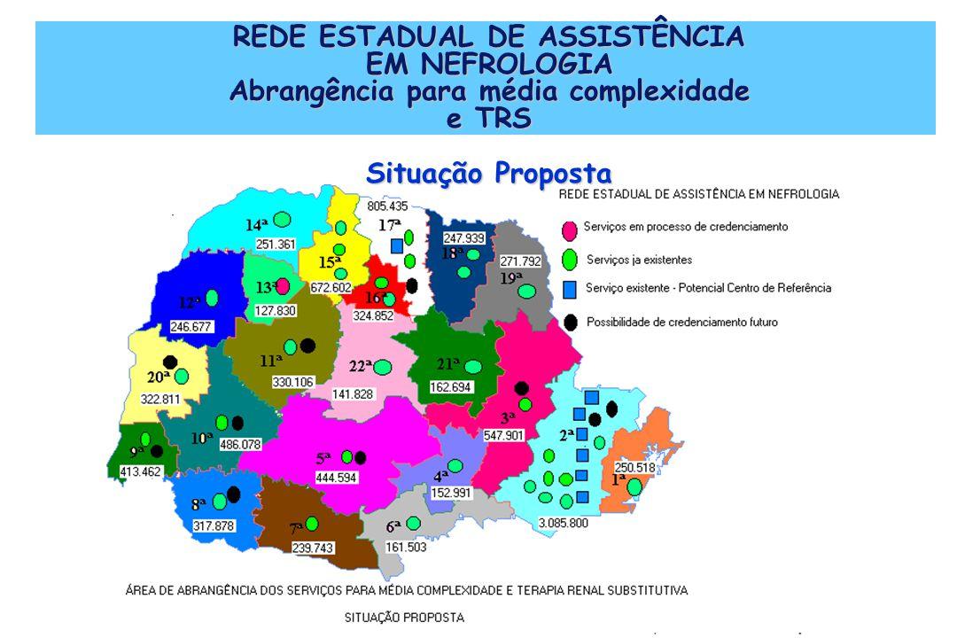 REDE ESTADUAL DE ASSISTÊNCIA EM NEFROLOGIA Abrangência para média complexidade e TRS Situação Proposta