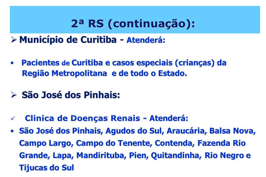 2ª RS (continuação): Município de Curitiba - Atenderá: Município de Curitiba - Atenderá: Pacientes de Curitiba e casos especiais (crianças) da Região Metropolitana e de todo o Estado.