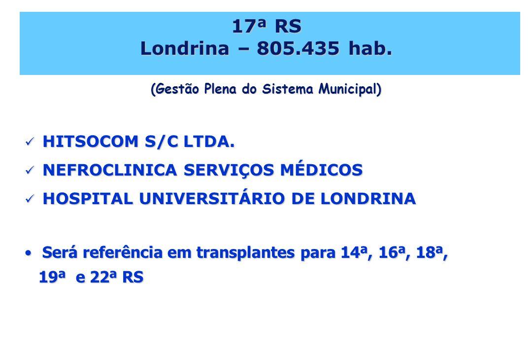 17ª RS Londrina – 805.435 hab. (Gestão Plena do Sistema Municipal) HITSOCOM S/C LTDA. HITSOCOM S/C LTDA. NEFROCLINICA SERVIÇOS MÉDICOS NEFROCLINICA SE