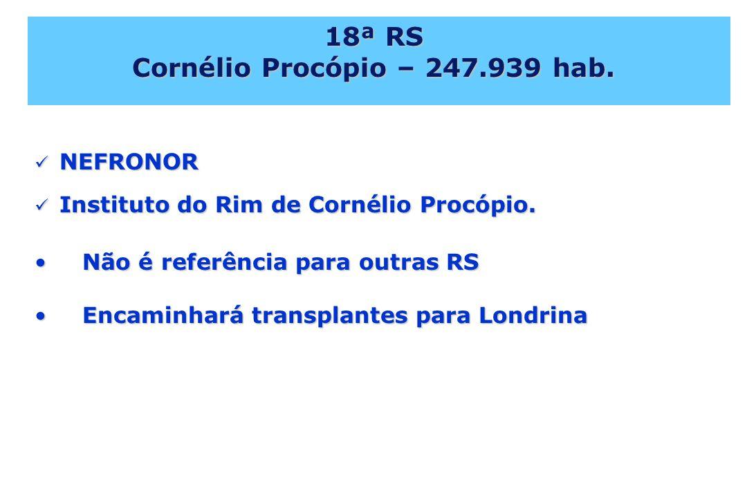18ª RS Cornélio Procópio – 247.939 hab. NEFRONOR NEFRONOR Instituto do Rim de Cornélio Procópio. Instituto do Rim de Cornélio Procópio. Não é referênc