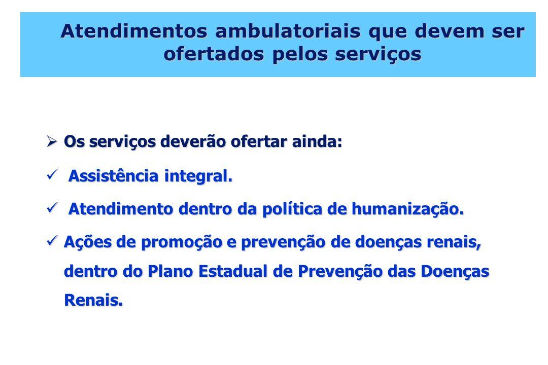 Atendimentos ambulatoriais que devem ser ofertados pelos serviços Os serviços deverão ofertar ainda: Os serviços deverão ofertar ainda: Assistência integral.