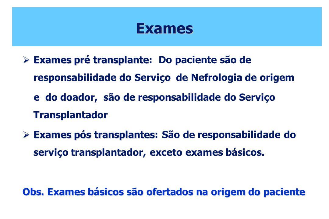 Exames Exames pré transplante Exames pré transplante: Do paciente são de responsabilidade do Serviço de Nefrologia de origem e do doador, são de respo