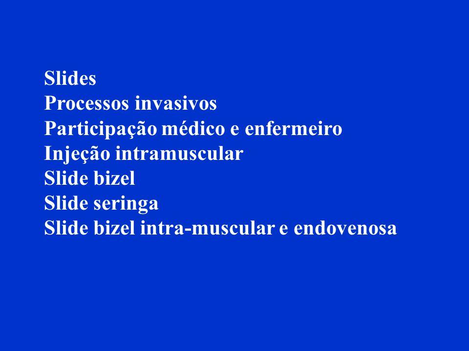 Slides Processos invasivos Participação médico e enfermeiro Injeção intramuscular Slide bizel Slide seringa Slide bizel intra-muscular e endovenosa