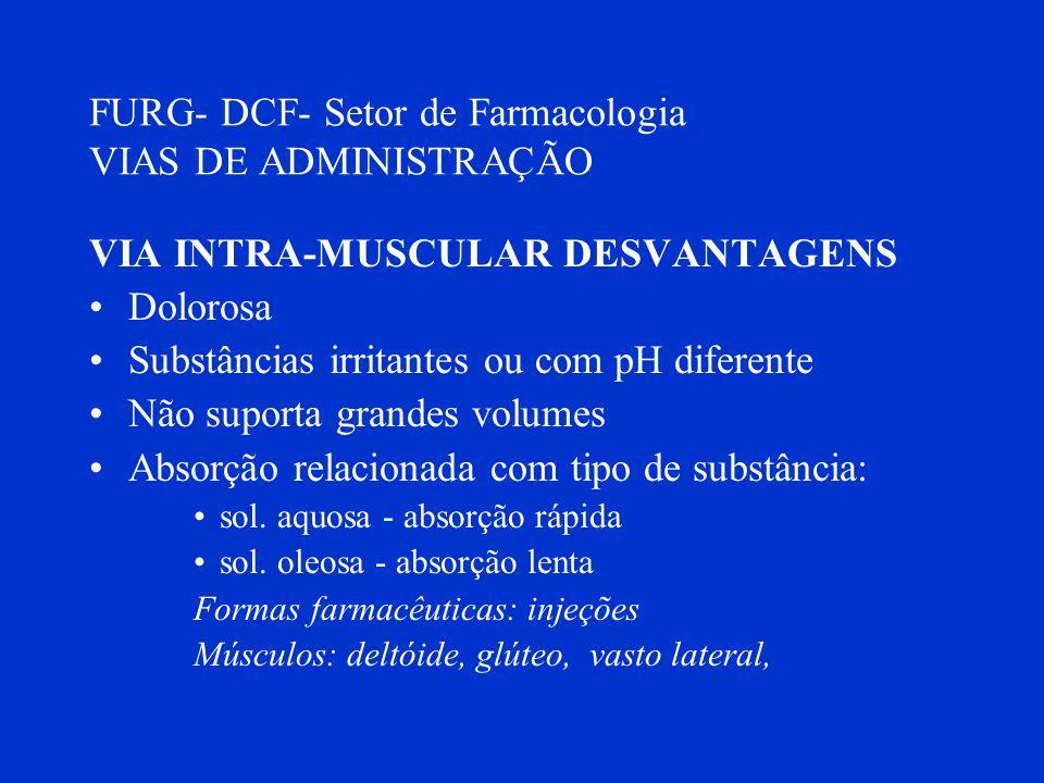 FURG- DCF- Setor de Farmacologia VIAS DE ADMINISTRAÇÃO VIA INTRA-MUSCULAR DESVANTAGENS Dolorosa Substâncias irritantes ou com pH diferente Não suporta
