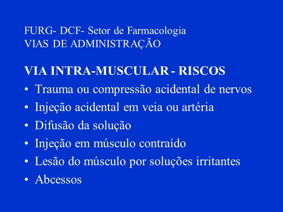 FURG- DCF- Setor de Farmacologia VIAS DE ADMINISTRAÇÃO VIA INTRA-MUSCULAR - RISCOS Trauma ou compressão acidental de nervos Injeção acidental em veia