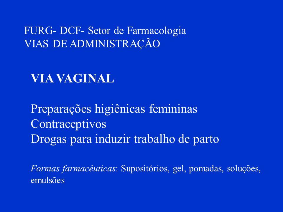 FURG- DCF- Setor de Farmacologia VIAS DE ADMINISTRAÇÃO VIA VAGINAL Preparações higiênicas femininas Contraceptivos Drogas para induzir trabalho de par