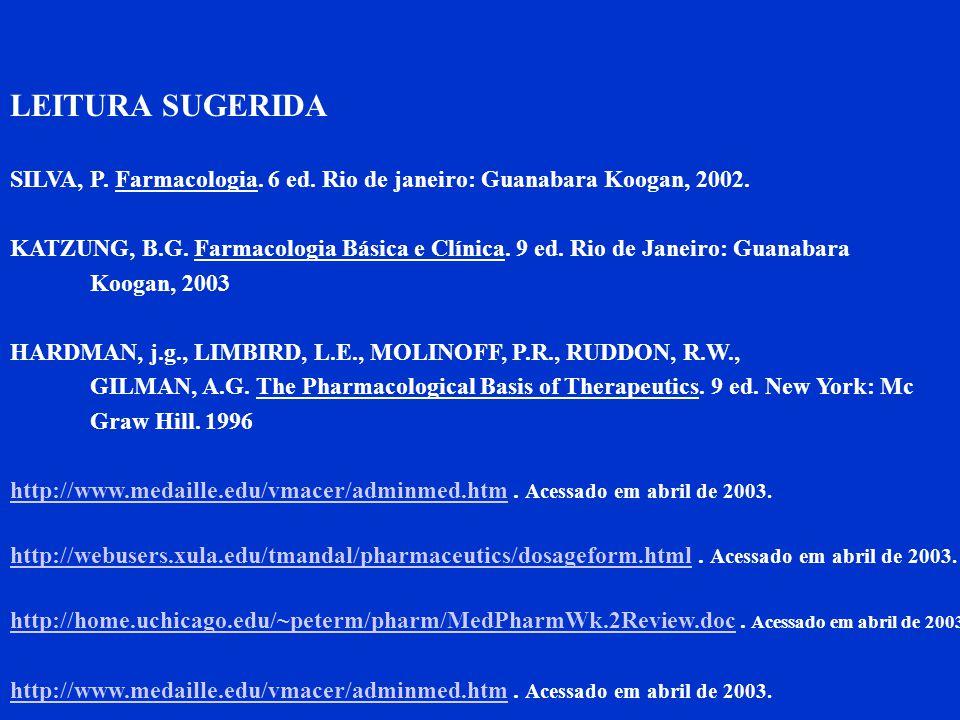 LEITURA SUGERIDA SILVA, P. Farmacologia. 6 ed. Rio de janeiro: Guanabara Koogan, 2002. KATZUNG, B.G. Farmacologia Básica e Clínica. 9 ed. Rio de Janei