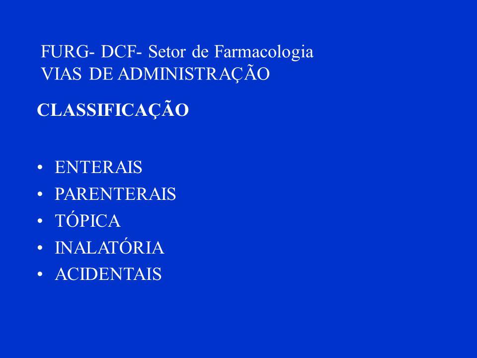FURG- DCF- Setor de Farmacologia VIAS DE ADMINISTRAÇÃO CLASSIFICAÇÃO ENTERAIS PARENTERAIS TÓPICA INALATÓRIA ACIDENTAIS