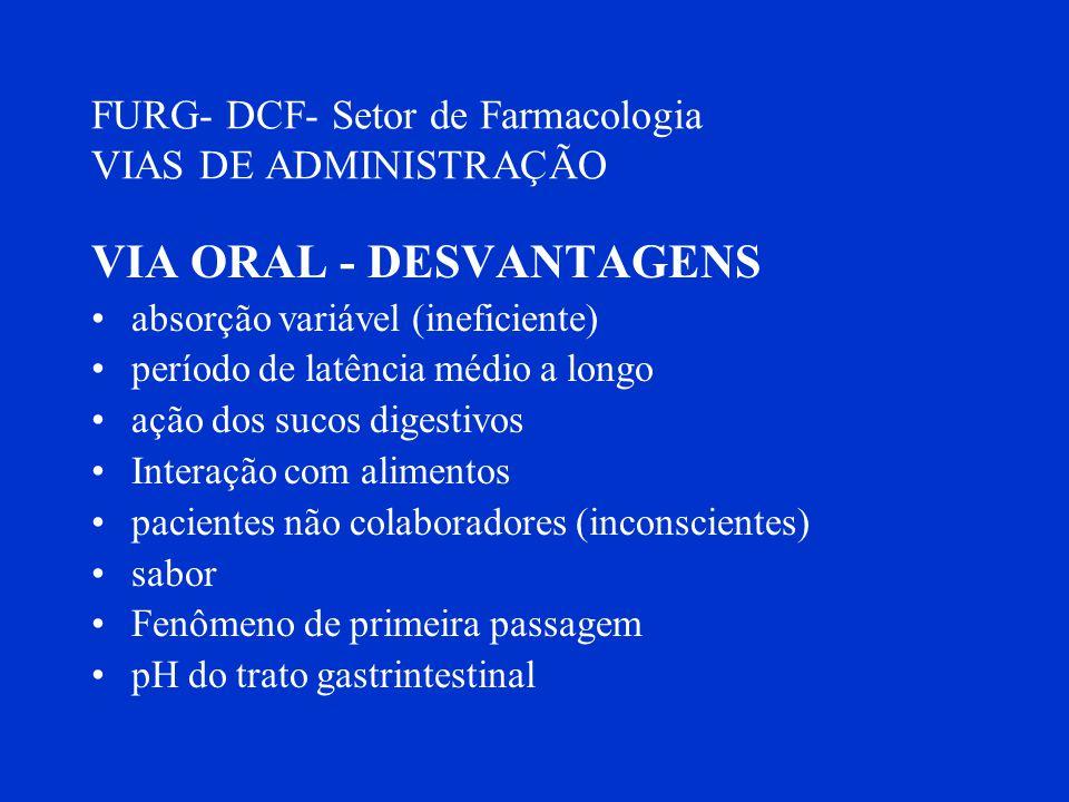 FURG- DCF- Setor de Farmacologia VIAS DE ADMINISTRAÇÃO VIA ORAL - DESVANTAGENS absorção variável (ineficiente) período de latência médio a longo ação