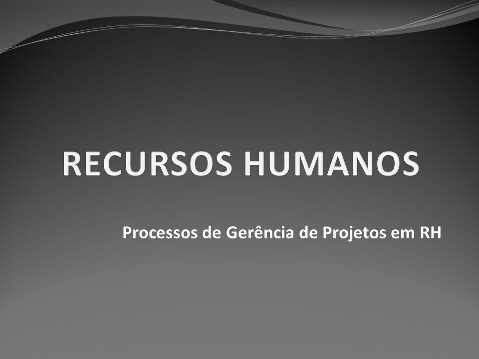 Subdivisões O PMBOK destaca quatro processos: Planejamento de recursos humanos; Contratar ou mobilizar a equipe do projeto; Desenvolver a equipe do projeto; Gerenciar a equipe do projeto.