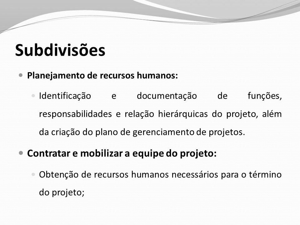 Subdivisões Planejamento de recursos humanos: Identificação e documentação de funções, responsabilidades e relação hierárquicas do projeto, além da cr