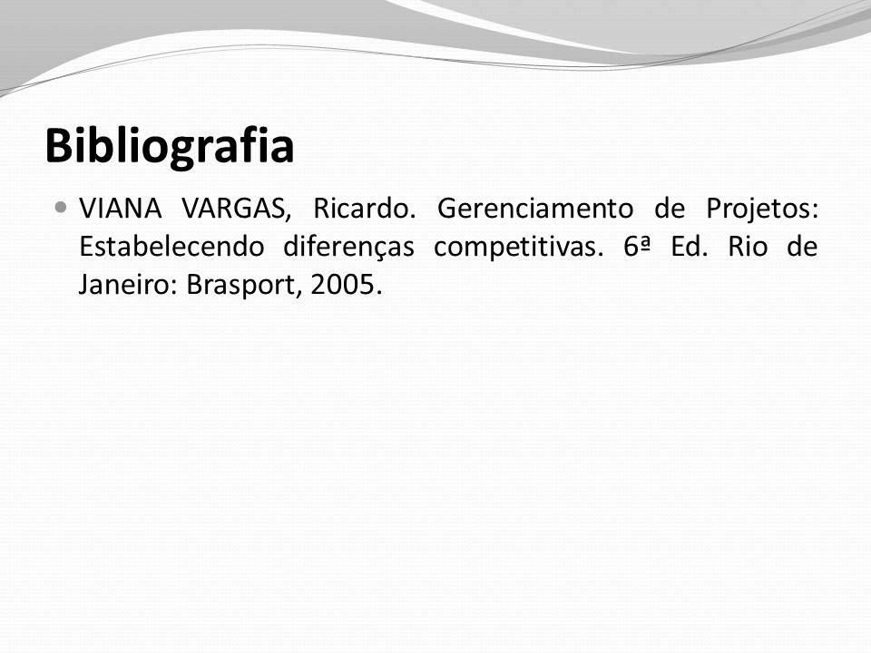 Bibliografia VIANA VARGAS, Ricardo. Gerenciamento de Projetos: Estabelecendo diferenças competitivas. 6ª Ed. Rio de Janeiro: Brasport, 2005.