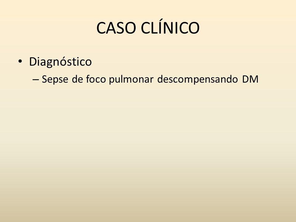 CASO CLÍNICO Diagnóstico – Sepse de foco pulmonar descompensando DM