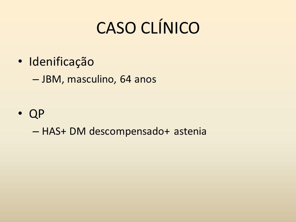 CASO CLÍNICO Idenificação – JBM, masculino, 64 anos QP – HAS+ DM descompensado+ astenia
