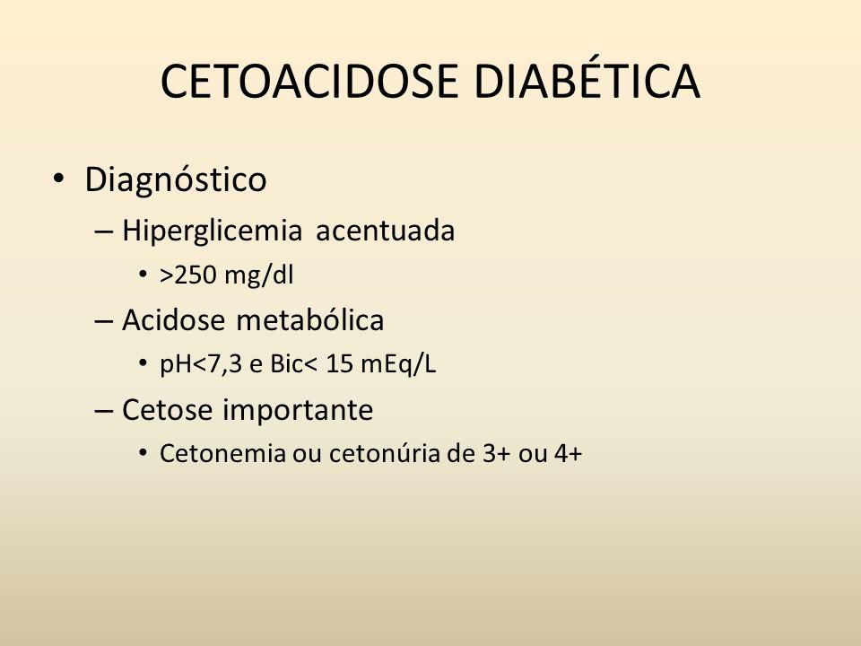 CETOACIDOSE DIABÉTICA Diagnóstico – Hiperglicemia acentuada >250 mg/dl – Acidose metabólica pH<7,3 e Bic< 15 mEq/L – Cetose importante Cetonemia ou cetonúria de 3+ ou 4+