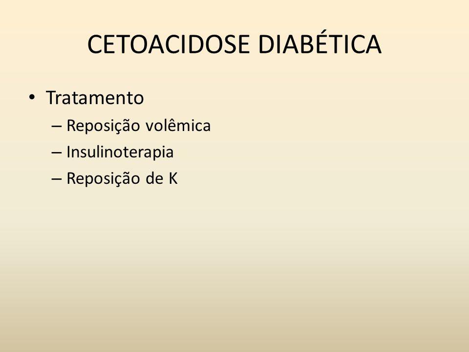 CETOACIDOSE DIABÉTICA Tratamento – Reposição volêmica – Insulinoterapia – Reposição de K