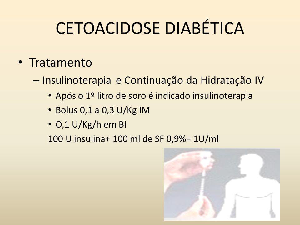 CETOACIDOSE DIABÉTICA Tratamento – Insulinoterapia e Continuação da Hidratação IV Após o 1º litro de soro é indicado insulinoterapia Bolus 0,1 a 0,3 U/Kg IM O,1 U/Kg/h em BI 100 U insulina+ 100 ml de SF 0,9%= 1U/ml