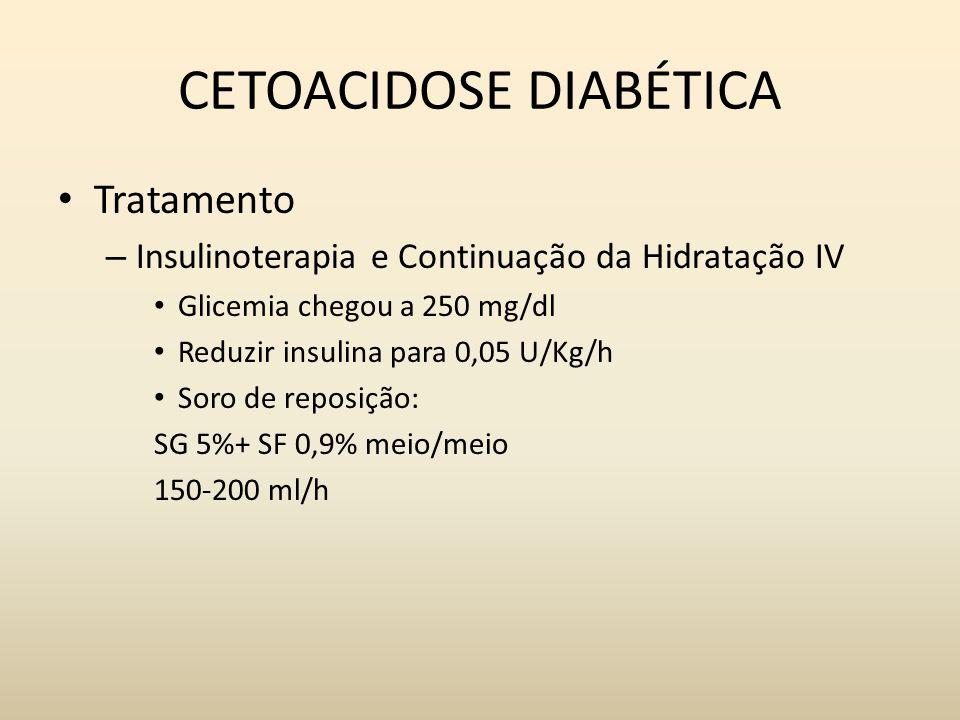 CETOACIDOSE DIABÉTICA Tratamento – Insulinoterapia e Continuação da Hidratação IV Glicemia chegou a 250 mg/dl Reduzir insulina para 0,05 U/Kg/h Soro de reposição: SG 5%+ SF 0,9% meio/meio 150-200 ml/h
