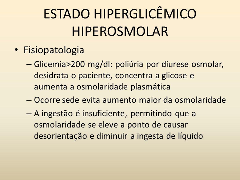 ESTADO HIPERGLICÊMICO HIPEROSMOLAR Fisiopatologia – Glicemia>200 mg/dl: poliúria por diurese osmolar, desidrata o paciente, concentra a glicose e aumenta a osmolaridade plasmática – Ocorre sede evita aumento maior da osmolaridade – A ingestão é insuficiente, permitindo que a osmolaridade se eleve a ponto de causar desorientação e diminuir a ingesta de líquido