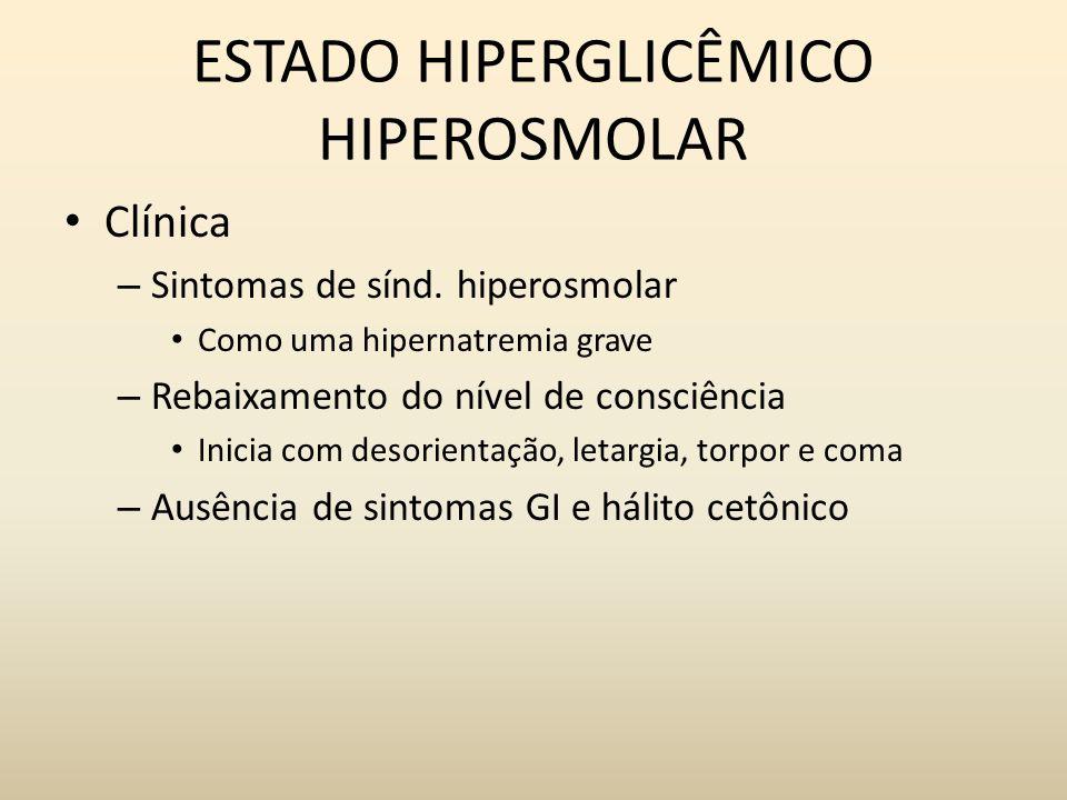 ESTADO HIPERGLICÊMICO HIPEROSMOLAR Clínica – Sintomas de sínd.