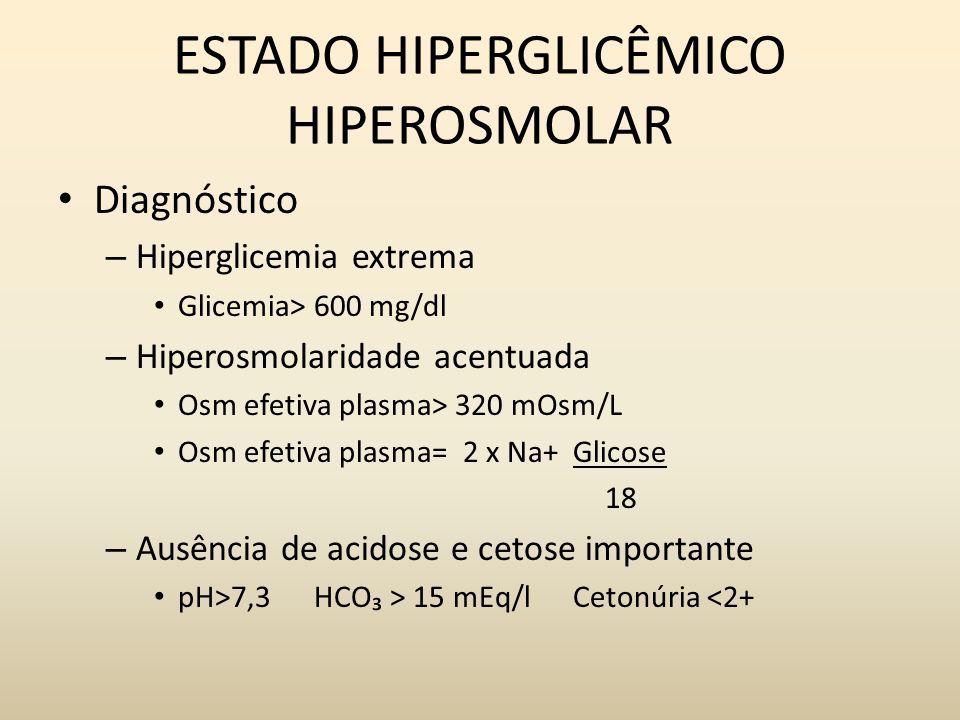 ESTADO HIPERGLICÊMICO HIPEROSMOLAR Diagnóstico – Hiperglicemia extrema Glicemia> 600 mg/dl – Hiperosmolaridade acentuada Osm efetiva plasma> 320 mOsm/L Osm efetiva plasma= 2 x Na+ Glicose 18 – Ausência de acidose e cetose importante pH>7,3 HCO > 15 mEq/l Cetonúria <2+